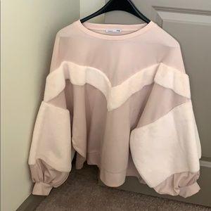 Unique fur sleeve sweatshirt!